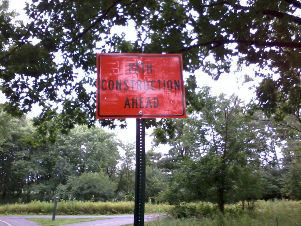 Bike path construction sign