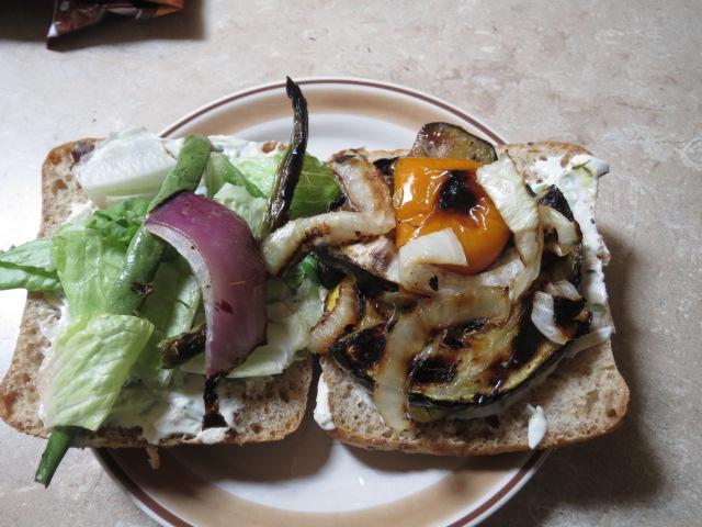 veggies on ciabatta roll